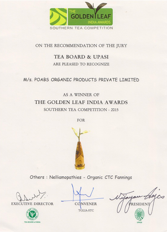 2015 The Golden Leaf India Award - Southern Tea Competition